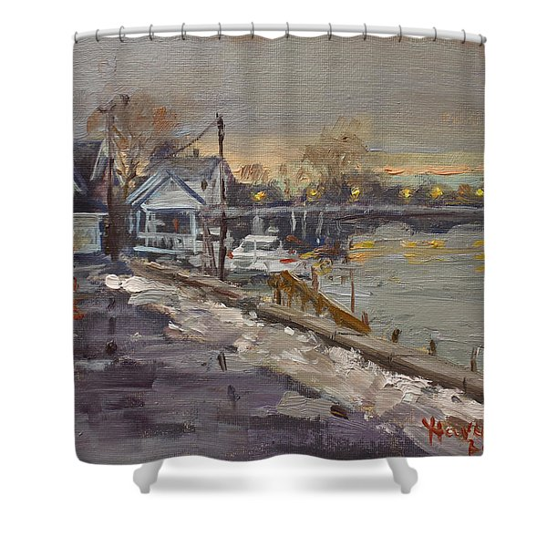 Rainy And Snowy Evening By Niagara River Shower Curtain