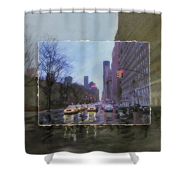 Shower Curtain featuring the mixed media Rainy City Street Layered by Anita Burgermeister