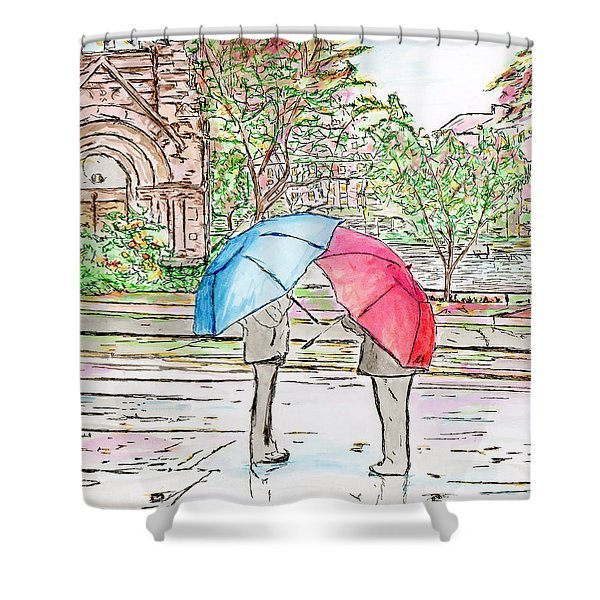 Rainy Day In Downtown Worcester, Ma Shower Curtain