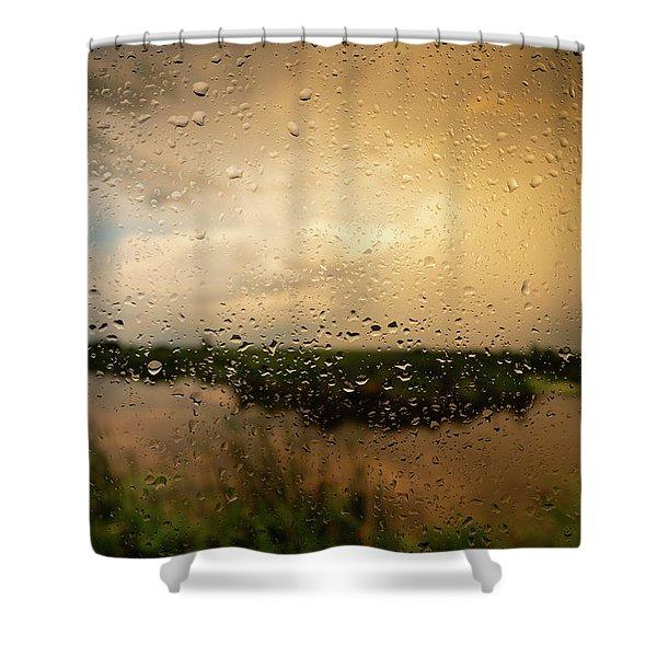 Rainy Dusk Over Horicon Marsh Wisconsin Shower Curtain