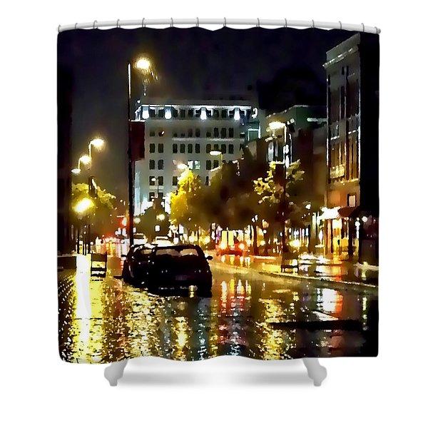 Rainy Night In Green Bay Shower Curtain