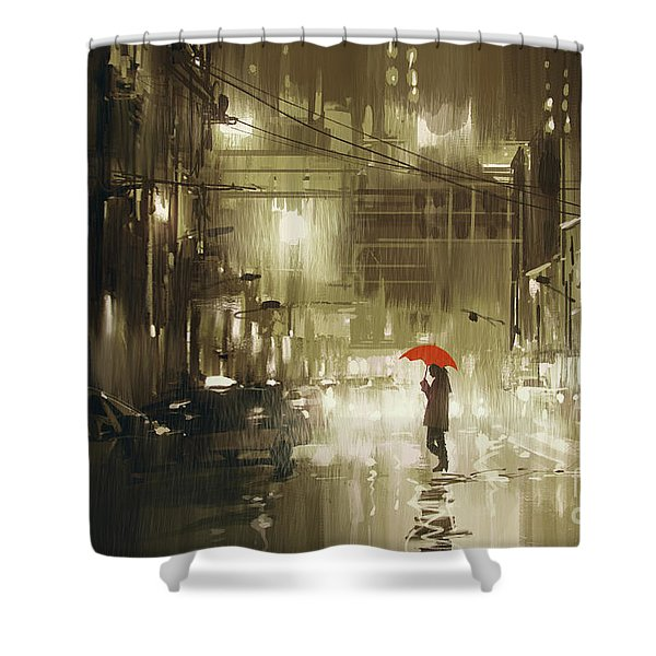 Shower Curtain featuring the painting Rainy Night by Tithi Luadthong