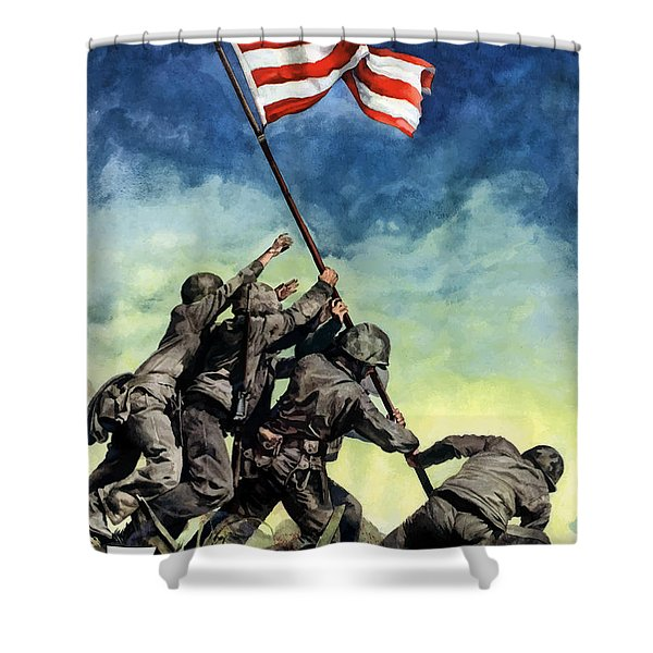 Raising The Flag On Iwo Jima Shower Curtain