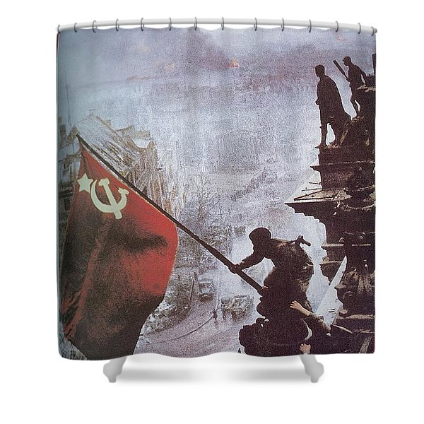 Raising The Soviet Flag  On The Reichstag Building Berlin Germany May 1945 Shower Curtain
