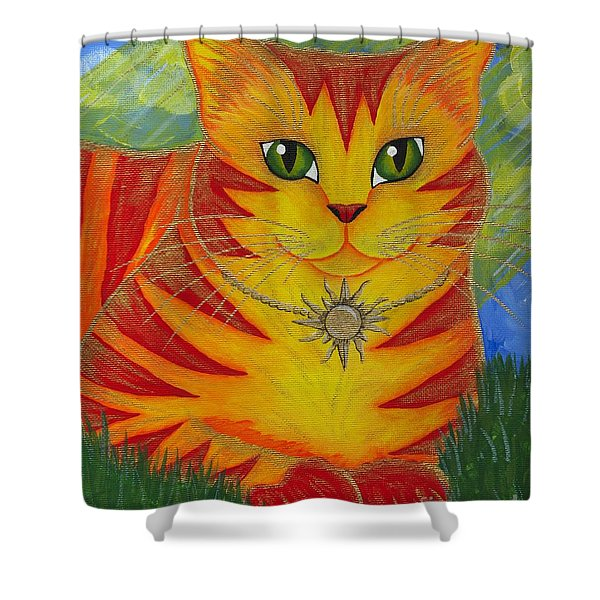 Rajah Golden Sun Cat Shower Curtain