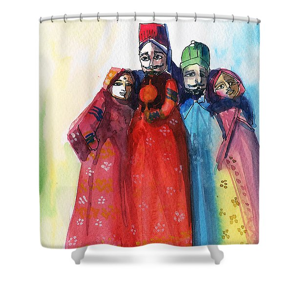Rajasthani Puppets Shower Curtain