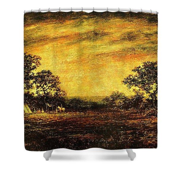 Ralph Blakelock, Indian Encampment Shower Curtain