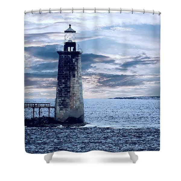 Ram Island Head Lighthouse.jpg Shower Curtain
