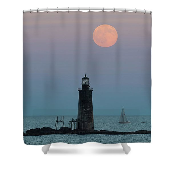 Ram Island Light Buck Moon And Sailboat Shower Curtain