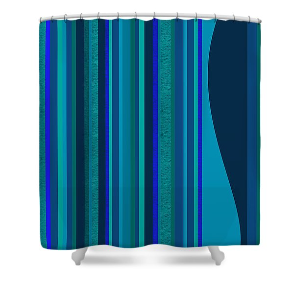 Random Stripes - Electric Blue Shower Curtain
