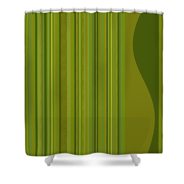 Random Stripes - Golden Green Shower Curtain