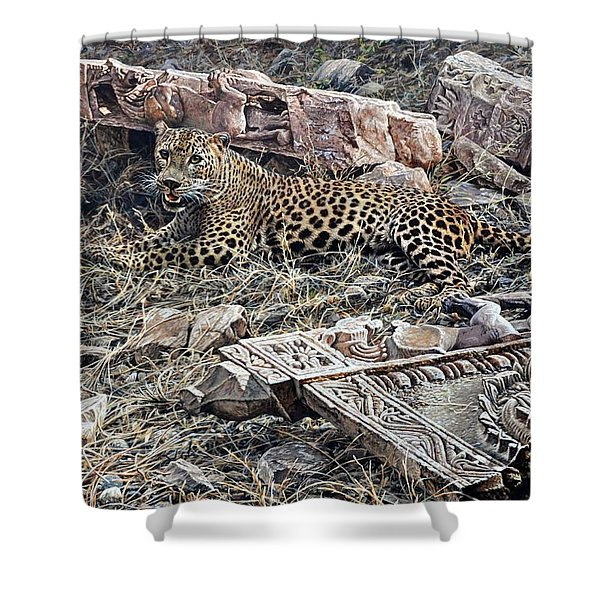 Shower Curtain featuring the painting Ranthambore Apparition by Alan M Hunt
