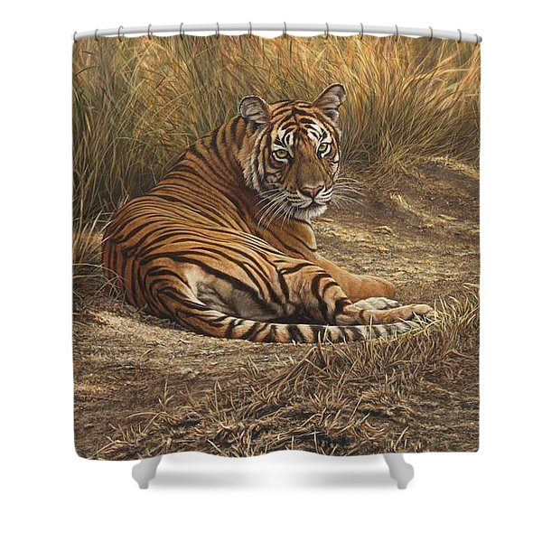 Shower Curtain featuring the painting Ranthambore Roadblock by Alan M Hunt