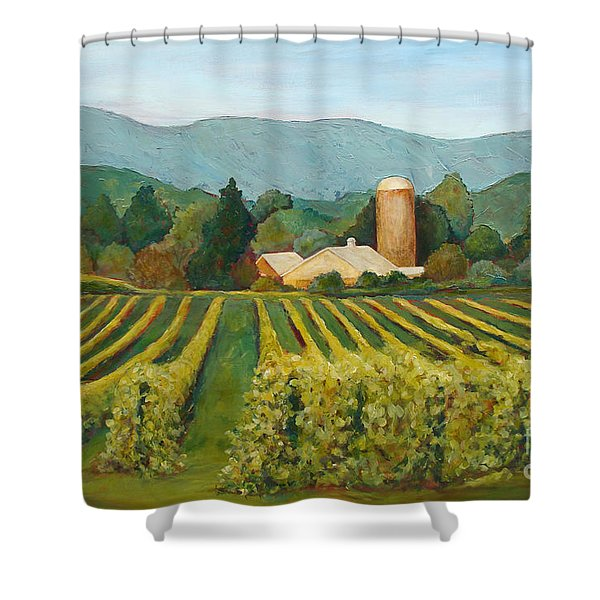 Raspberry Rows Shower Curtain