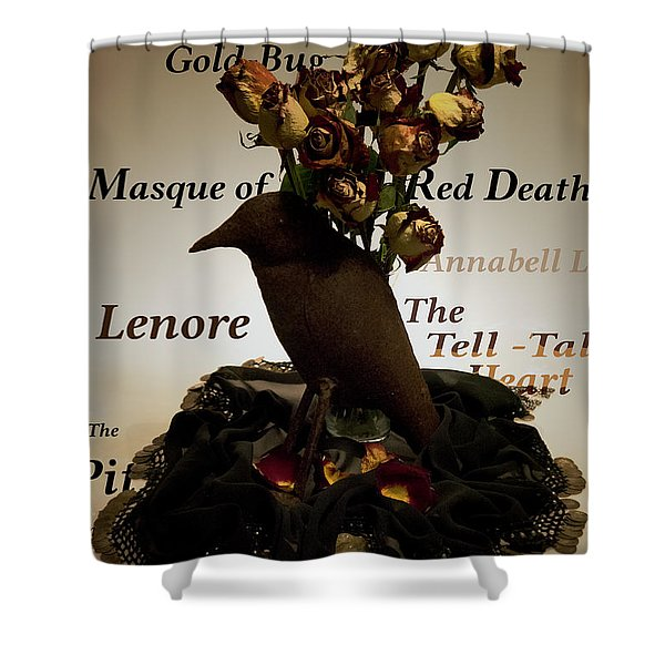 Raven And Roses Shower Curtain
