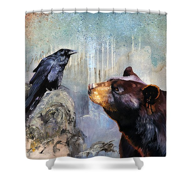 Raven And The Bear Shower Curtain