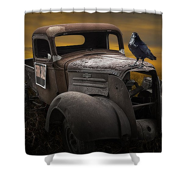 Raven Hood Ornament On Old Vintage Chevy Pickup Truck Shower Curtain