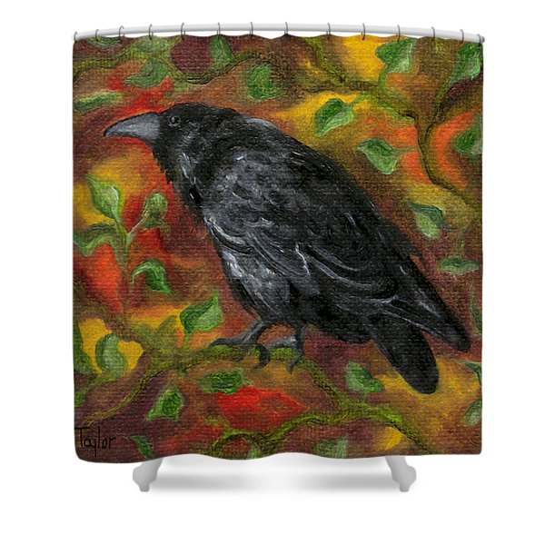 Raven In Autumn Shower Curtain