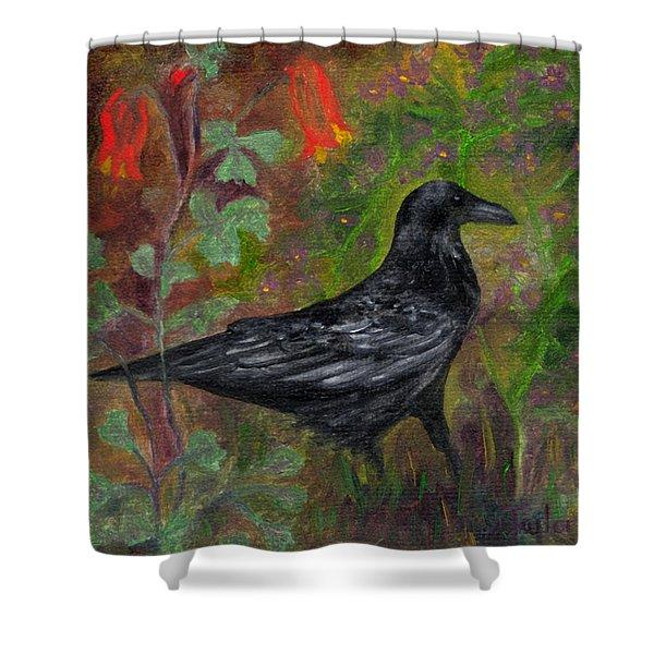 Raven In Columbine Shower Curtain