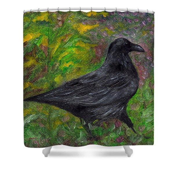 Raven In Goldenrod Shower Curtain