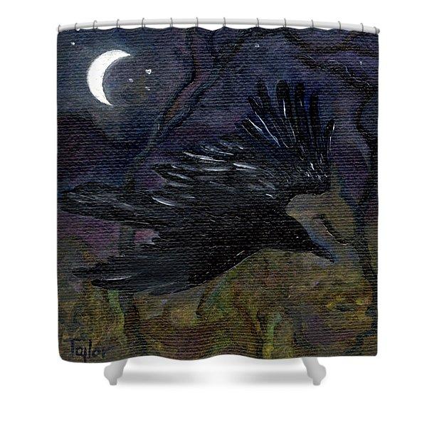 Raven In Stars Shower Curtain