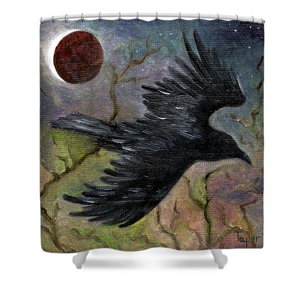 Raven In Twilight Shower Curtain