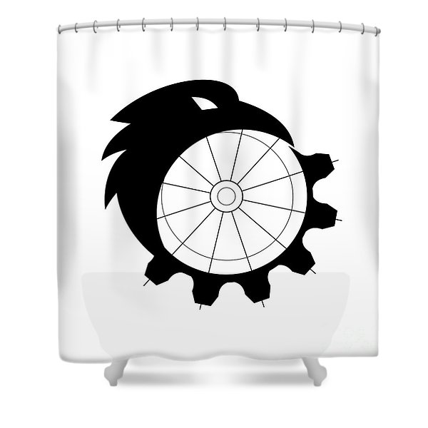 Raven Merging To Cog Icon Shower Curtain