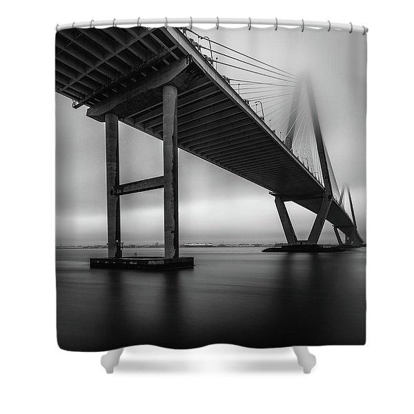 Ravenel Bridge November Fog Shower Curtain