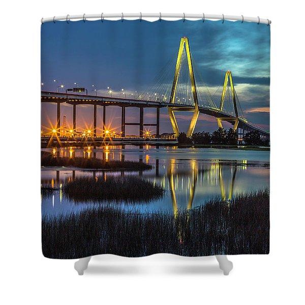 Ravenel Bridge Reflection Shower Curtain