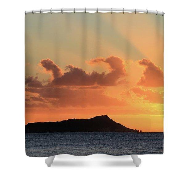 Rays Over Diamond Head Shower Curtain
