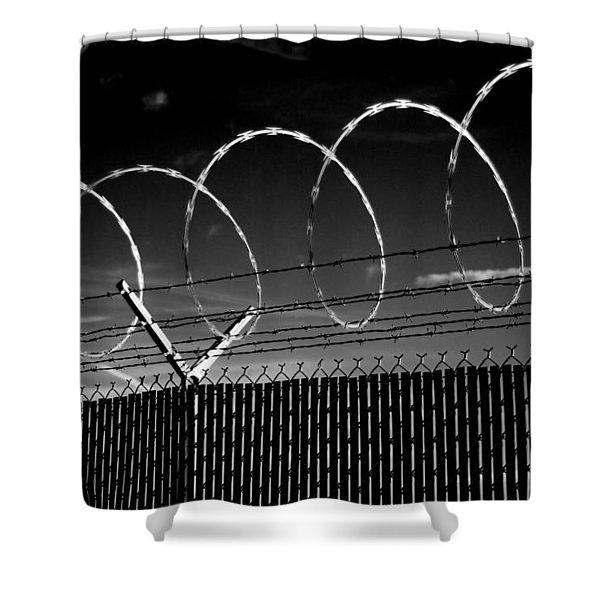 Razor Wire In The Sun Shower Curtain