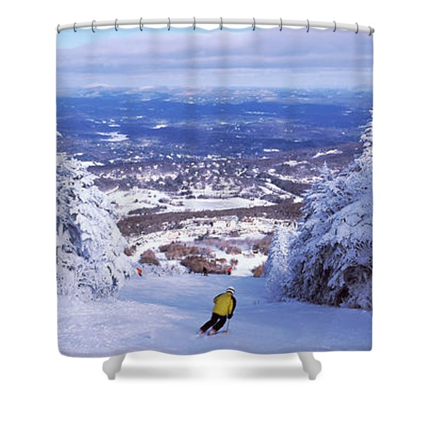 Rear View Of A Person Skiing, Stratton Shower Curtain