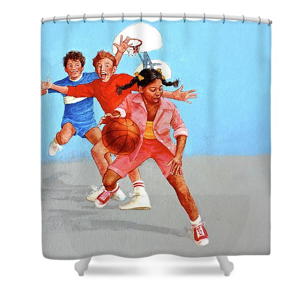 Shower Curtain featuring the painting Recess by Cliff Spohn