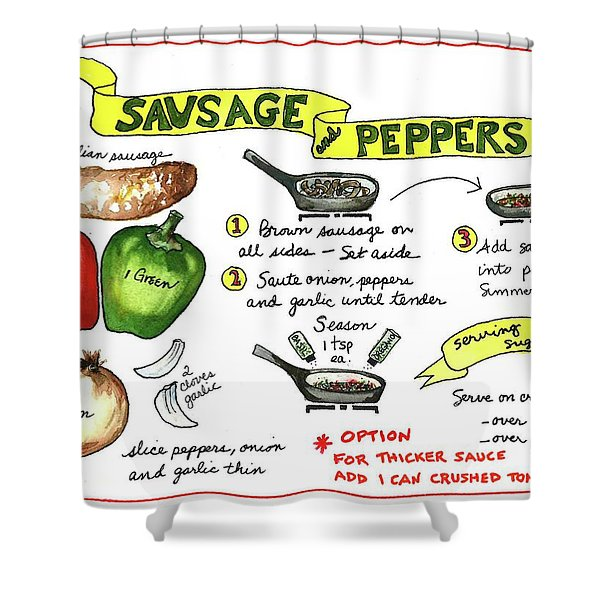 Recipe Sausage And Peppers Shower Curtain