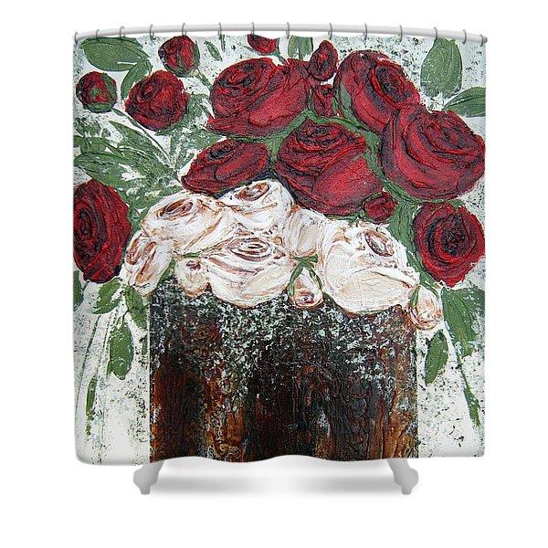 Red And Antique White Roses - Original Artwork Shower Curtain