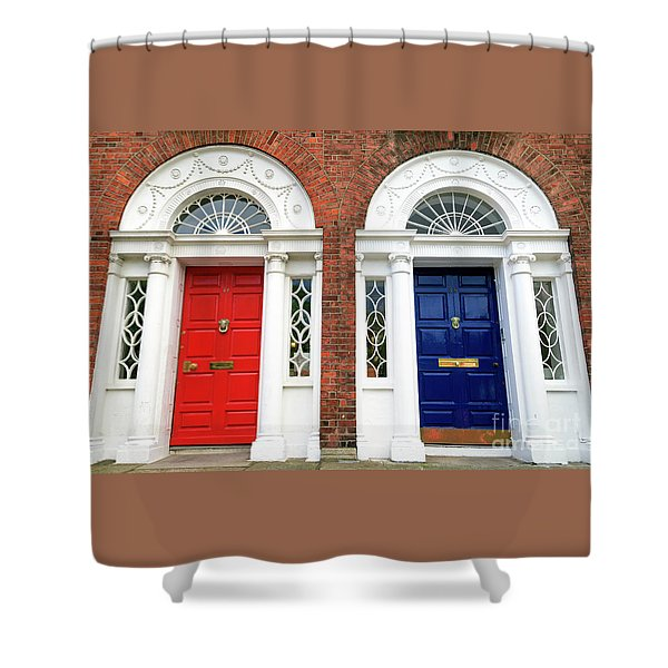 Red And Blue Dublin Doors Shower Curtain