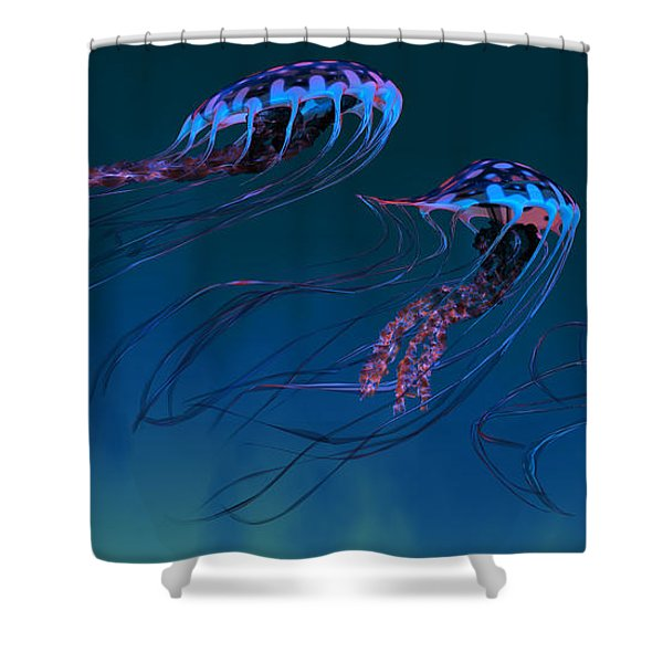 Red And Blue Jellyfish Shower Curtain