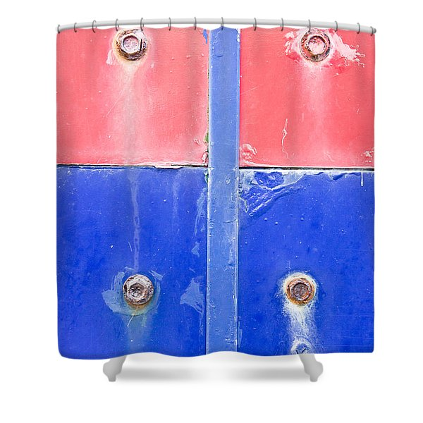 Red And Blue Metal Shower Curtain