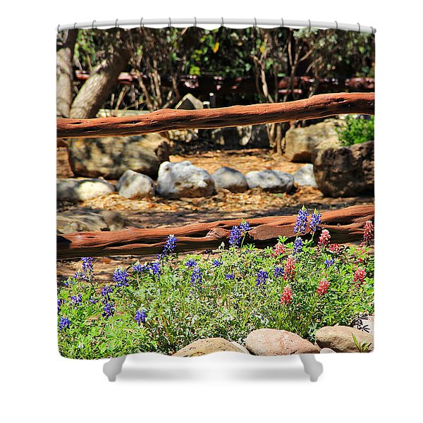 Red And Bluebonnets Shower Curtain