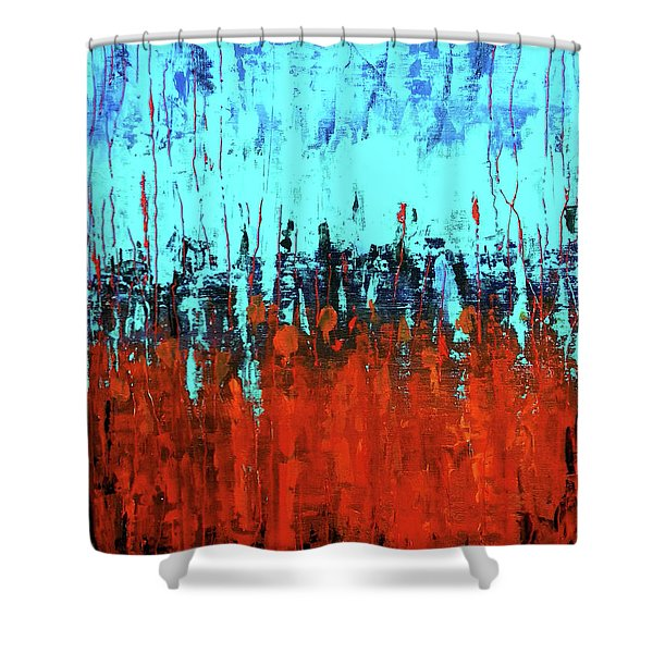 Red And Turquoise Abstract Shower Curtain