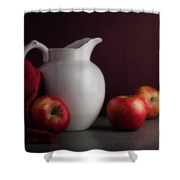 Red And White Apple Still Life Shower Curtain