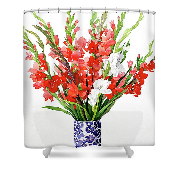 Red And White Gladioli Shower Curtain