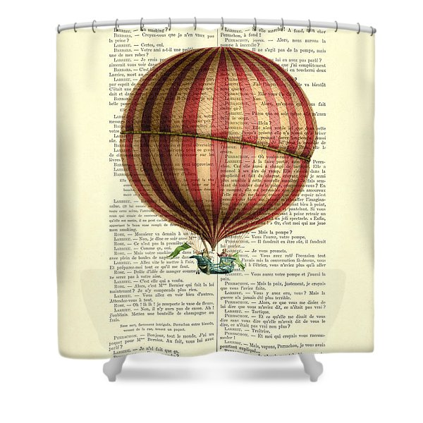 Red And White Striped Hot Air Balloon Antique Photo Shower Curtain