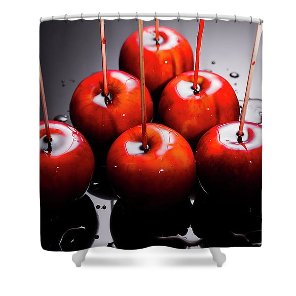 Red Apples With Caramel  Shower Curtain