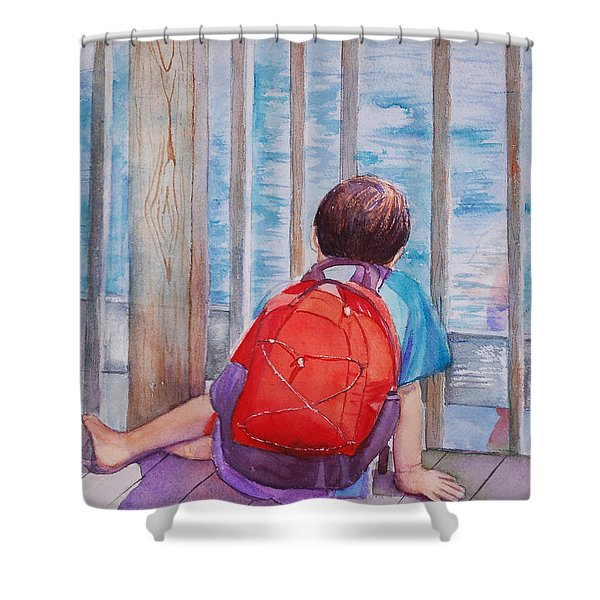 Red Backpack Shower Curtain