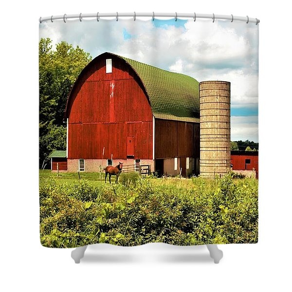 0040 - Red Barn And Horses Shower Curtain