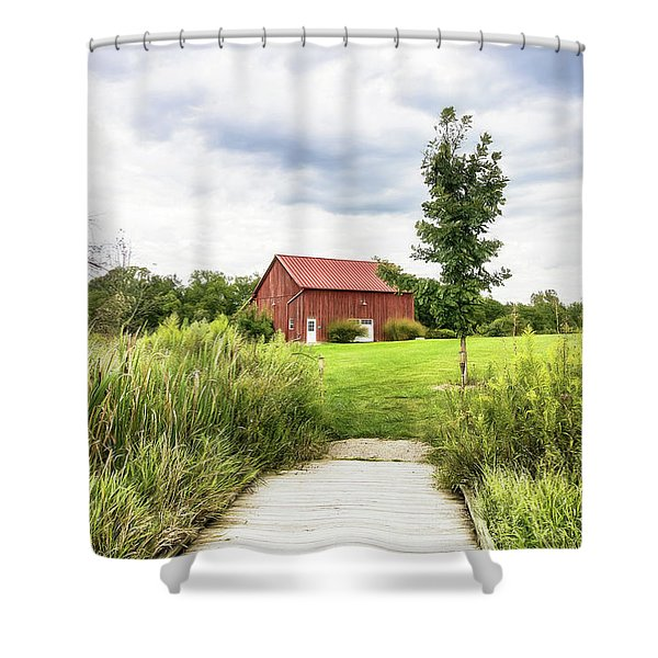 Red Barn At Dawes Arboretum Shower Curtain