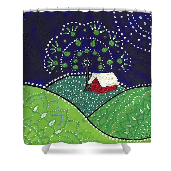 Red Barn At Night Shower Curtain