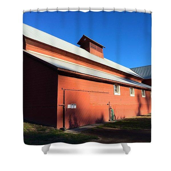 Red Barn, Blue Sky Shower Curtain