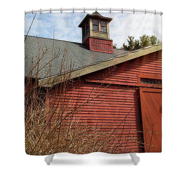 Red Barn Blue Sky Shower Curtain